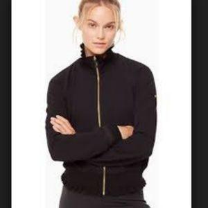 Kate Spade Ruffle Rib Zip Up, Black - Size S nwot